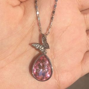 Jewelry - Pink Gemstone Butterfly Necklace